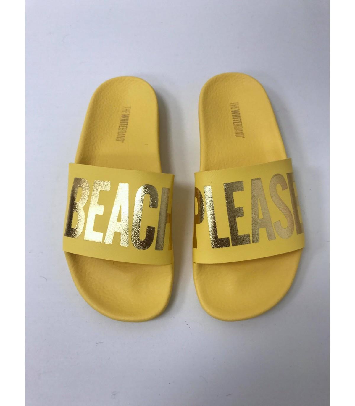 Thewhitebrand Beach yellow Jaune - Chaussures Claquettes