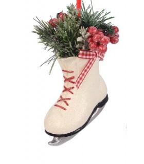 Sujet Noël Patin à Glace - Décoration Noël - Livraison partout en France : Mulhouse, Lille, Strasbourg, Chamonix, Grenoble