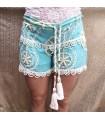 Short Femme Bleu Étoile Blanche - Vêtement Bohème Chic