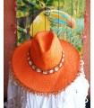 Chapeau Coquillages en Paille Orange - Bohème Chic