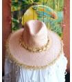 Chapeau Coquillage en Paille Rose Poudré - Boho Chic