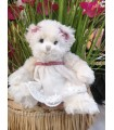 Peluche Ours Blanc Maya Noeud Rose - Magasin