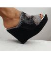 """Compensé Noir Soleil """"Fait Main"""" - Magasin Chaussures"""