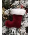 Petite Botte Père Noël Bordeau Velours - Décoration de Noël